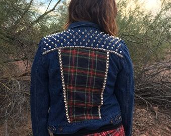 Blue Red Yellow Plaid Women's Small Punk Studded Denim Jacket; plaid punk; gift for punk chick; punk chick jacket;