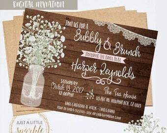 Bridal Shower invitation, Rustic Bridal Shower printables, Rustic invitation, Rustic Wedding invitation, Rustic Bridal Shower digital print