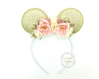 Pink and Gold Mouse Ears headband, Minnie mouse ears headband, Mickey Mouse ears headband, flower crown, bithday, photography, theme park