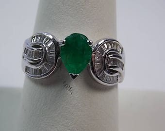 Emerald and Diamond Ring 1.45Ctw White Gold 14K 3.9gm Size 8 Engagement, wedding, May Birthstone