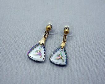 Hummingbird Glass Intaglio Earrings Glass Hummingbird Earrings