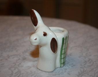 Adorable Vintage Donkey Burro Toothpick Holder Ceramic Cream Green Brown
