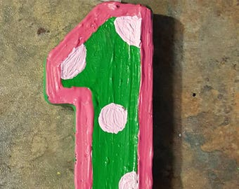Green and Pink Painted Candle - birthday candle painted candle party candle cake topper tractor party birthday cake cake candle