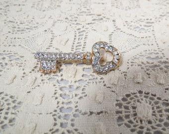 Vintage Rhinestone Skeleton Key Brooch Goldtone
