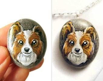Papillon Dog Necklace, Animal Painting, Pet Portrait, Dog Lover Art Gift, Memorial Stone, Hand Painted Pebble, Keepsake Jewelry