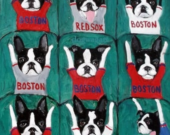"Boston Terrier Print,Boston Terrier Art,Dog Art,""BOSTON WAVE"",Red Sox,Baseball Art,8x10,Signed Original Print"