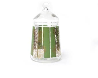 Vintage Boho Apothecary Jar | Glass w/ Green Stripes and Gold Fern | Mid Century, Made in Belgium |