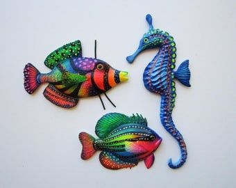 Fish and seahorse wall decor, nautical wall decor, whimsical beach art