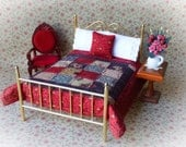 """Miniature Handmade Quilt  with 2 Matching Bed Pillows & Decorator Pillow, """"Sadie"""" - 1:12 Scale"""