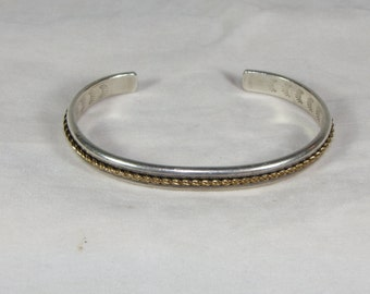 Vintage Sterling Silver Cuff Bracelet Marked NC