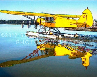 Seaplane Travel Adventure Pop Art Piper No. 17 Yellow Romantic Florida Aviation Signed Fine Art Photography