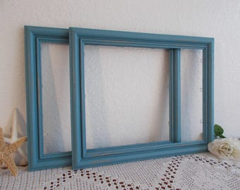Blue Picture Frame 11 x 14 Photo Decoration Up Cycled Vintage Wood Rustic Shabby Chic Distressed Beach Cottage Coastal Seaside Home Decor