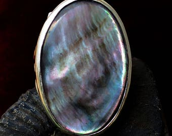 Large Sized Hand Cut Black Oyster Shell Gemstone Ring in a Bold Sterling Silver Art Nouveau Ring Design