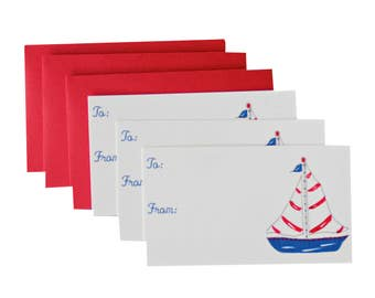 Nautical Red White Blue Sailboat Gift Enclosure Cards