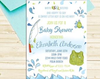 Fishing Baby Shower Invitation - Baby Boy Gone Fishing Printable Invite - Rod and Reel Fish Shower Invitation