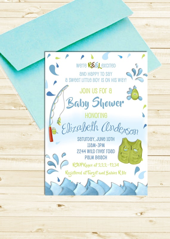 Fishing Baby Shower Invitation - Baby Boy Gone Fishing Printable Invite - Rod and Reel Fish Shower Invitation