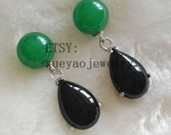 free shipping - jade earrings, green jade earrings, black jade earrings