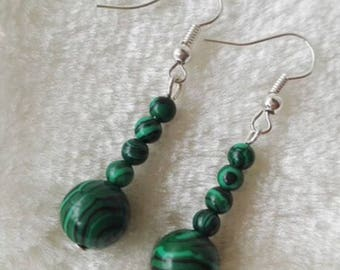free shipping- malachite earrings, 4-10 mm green malachite dangle earrings