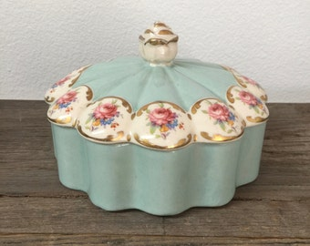 Vintage vanity trinket box with lid, fine china, light blue and with pink roses
