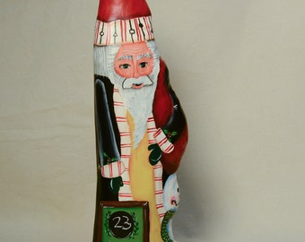 Countdown to Christmas Cypress Knee Santa with Chalkboard