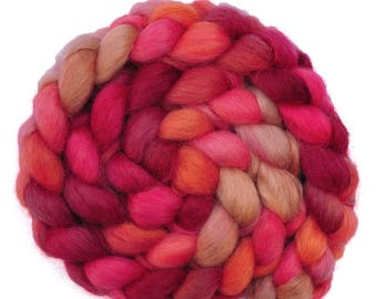 Hand painted spinning fiber - Wensleydale wool combed top roving - 4.0 ounces - Tense & Terse 2