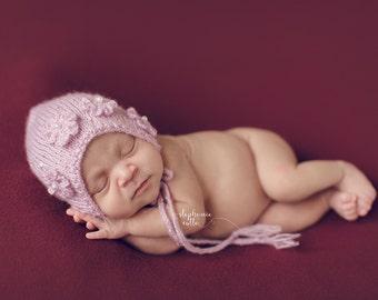 Soft Sparkle Newborn and Infant Bonnet Knit Photo Prop - Ready to Ship!