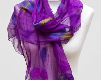 Purple Scarf, Felted Scarf, Nuno-Felted Scarf, Silk Scarf, Silk Wrap