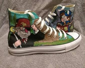 Gravity Falls Grunkle Stan and Dipper custom Converse