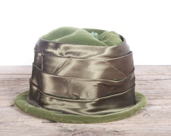 Vintage Green Women's Formal Hat / Green Felt Wedding Hat / Antique Formal Hat / Women's Hat / Womens Hat 40's