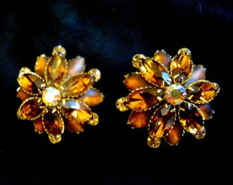 Vintage Signed JUDY LEE Frosted, Aurora & Amber Faceted Rhinestone Clip EARRINGS