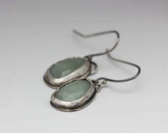Rose-cut Aquamarine Earrings, Sterling Earrings, Rustic Chic, March Birthstone