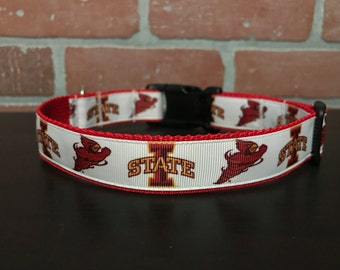 Dog Collar Made from Iowa State Inspired Ribbon