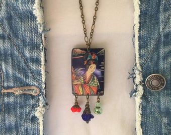 """Tin Jewelry Necklace """"China Girl"""" Tin for the Ten Year Tenth Wedding Anniversary"""