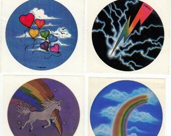 SALE Lot of Four Vintage EHM Stickers - 80's Heart Rainbow Unicorn Lightning Bolt Balloon Cloud Collectible Gift Scrapbook Collage