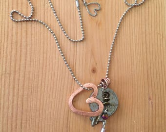Copper Heart Vintage Key Beaded Charm Necklace