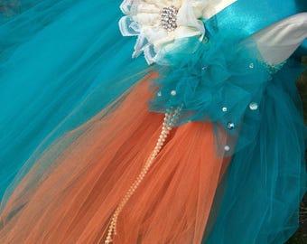 Teal orange tulle tutu dress for weddings,flower girls,beach weddings,summer weddings,birthdays