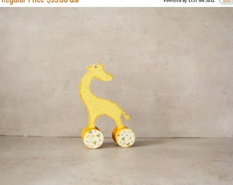 ON SALE Nursery decor, Baby shower rustic home decor yellow polka dot giraffe, vintage style toy, french baby toys, doll,  red and ivory