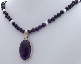 Amethyst Pearl Natural Stone Pendant Necklace
