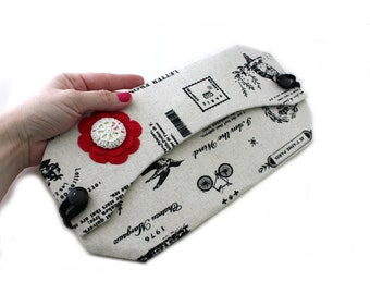 Canvas Clutch -  Canvas Bag - Flat Wallet - Handbag - Clutch Purse - Envelope Clutch - Fabric Handbag - Vegan Handbag - Clutch