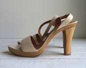 Vintage 70's Sky High Wood Heel Disco Heels Sandals 8
