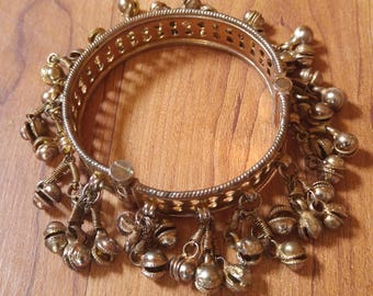80s Indian bell / Kashmiri hinged cuff bracelet