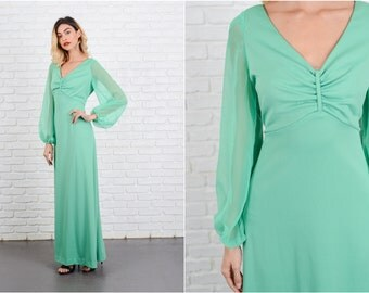 Vintage 70s Green Boho Dress Sheer Sleeve Maxi Hippie medium M 8562