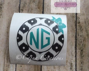 Monogram decal, car decal, two initial monogram decal, bow decal, leopard print decal, yeti decal, laptop decal, personalized decal