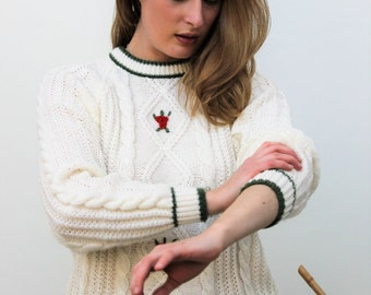 Cream Cable Knit Jumper with Flower Detail Size UK 12, US 8, EU 40