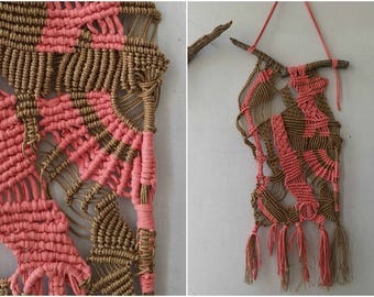 Macrame Wall Hanging Large, Branch Woven Wall Hanging Macrame, Fiber Wall Art Asymmetrical, Hemp Macrame Nursery Wall Hanging Brown Pink