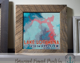 Lake Lotawana - Framed in Reclaimed Barnwood Decor - Handmade Ready to Hang | Size and Price via Dropdown