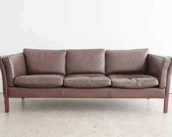 Mid Century Stouby Leather Sofa / Couch