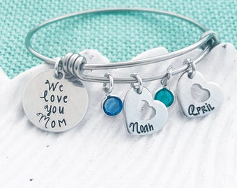 """Customizable Bangle - """"We Love You [Name or Title]"""" with Names and Swarovski Birthstones - Hand Stamped by Eight9 Designs"""