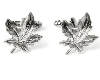 SALE Maple Leaf Cufflinks- Brass OR Silver, Mens Handcrafted Tree Cuff Links, Canada Autumn Spring Forest Guys Prom Groom Wedding Mans Gift