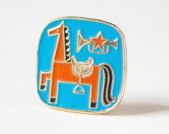 Vintage pin red horse, Soviet time enamel pin horse trumpet, Soviet star badge fun, blue red 80s kid pin, lapel pin 80 style USSR